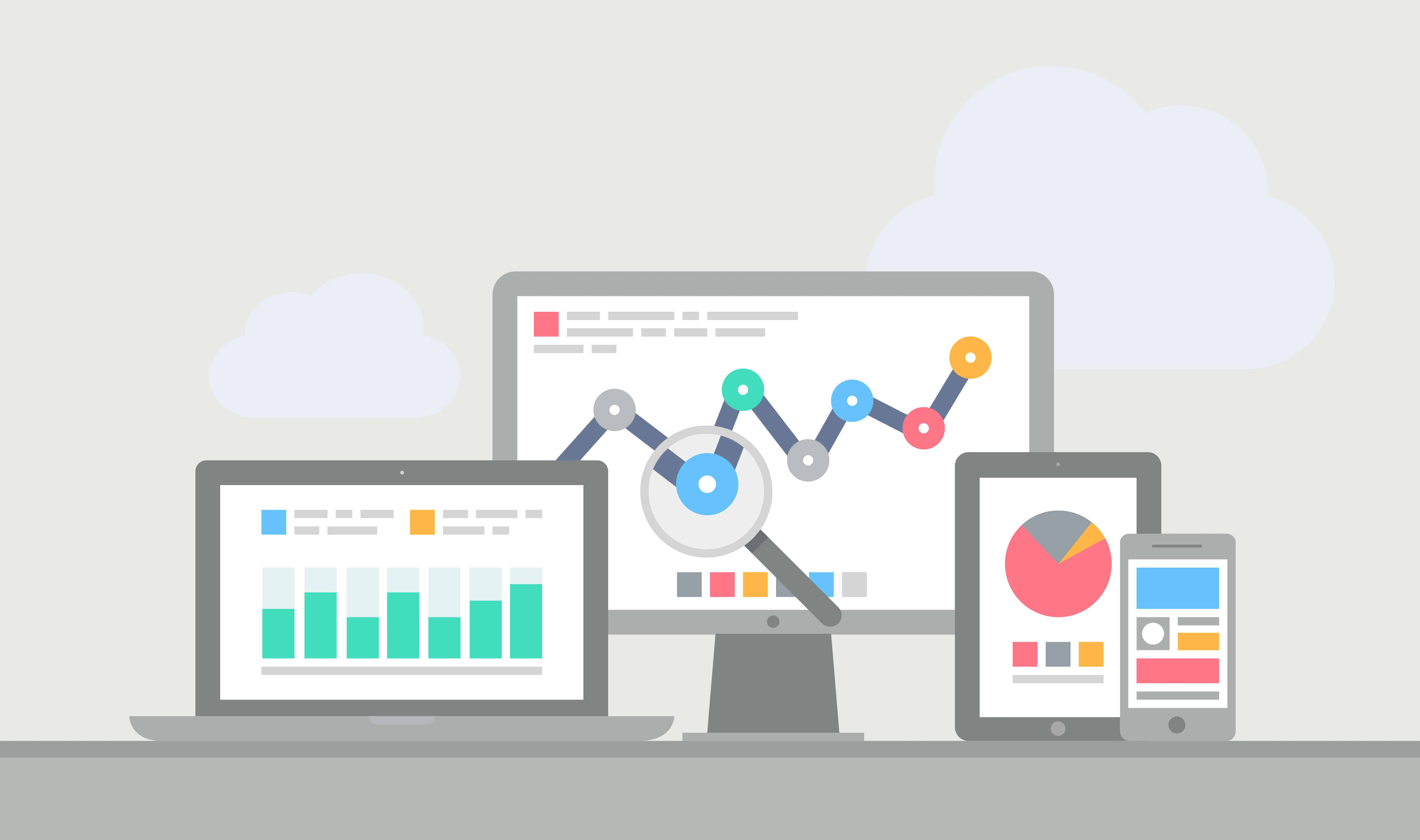 Flat design modern vector illustration concept of website analytics and computing data analysis using modern electronic and mobile devices. Isolated on grey background